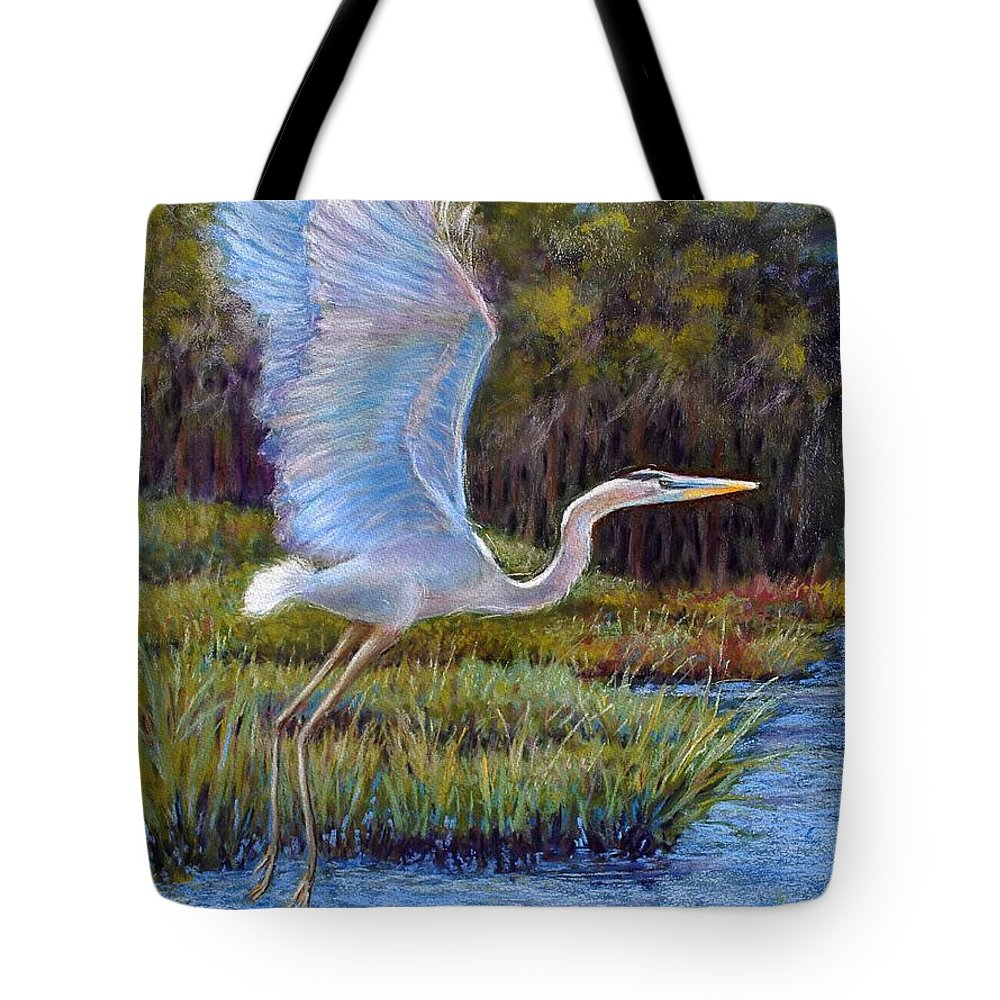Landscape Tote Bag featuring the pastel Blue Heron In Flight by Susan Jenkins