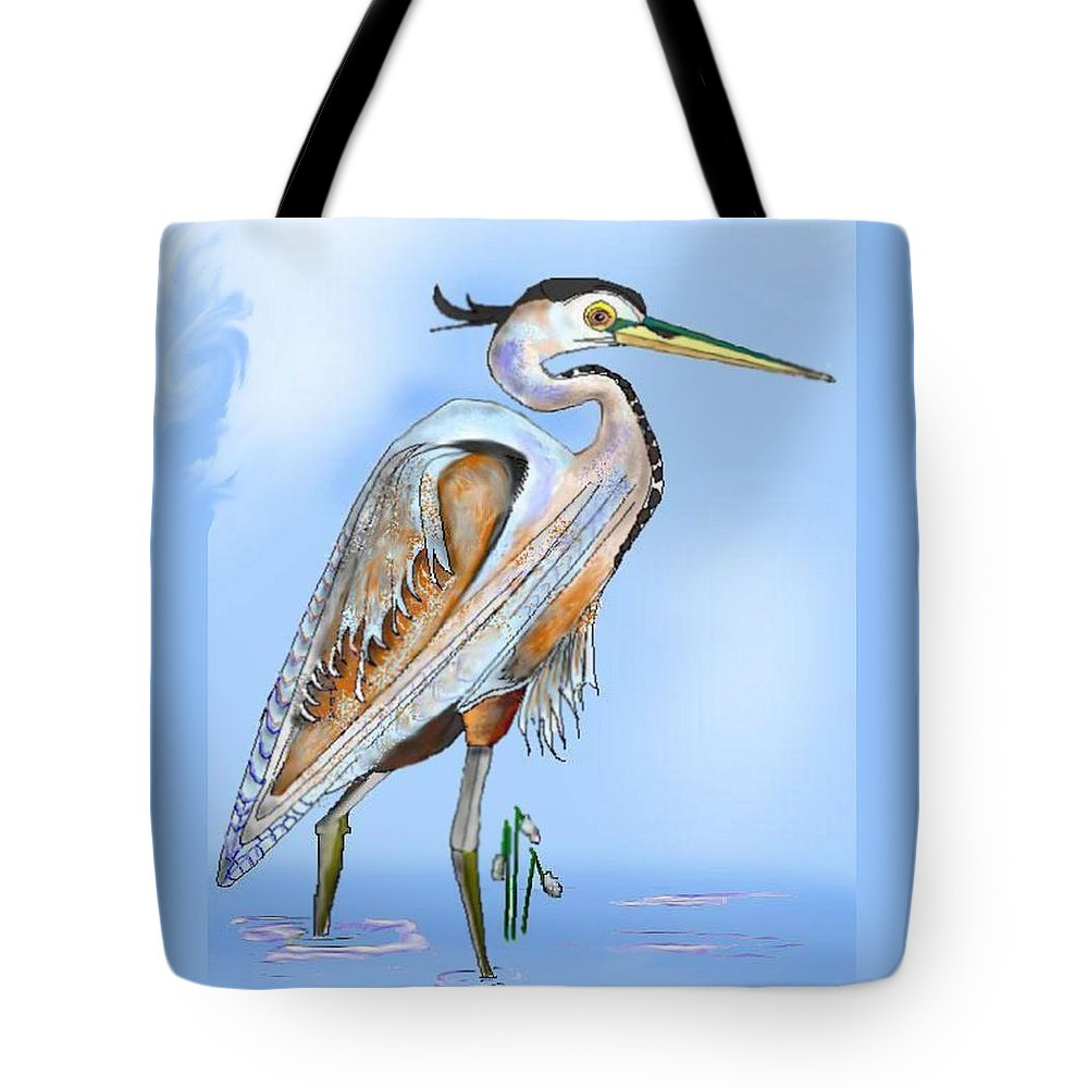 Blue Heron Tote Bag featuring the painting Blue Heron In The Mist by Anne Norskog