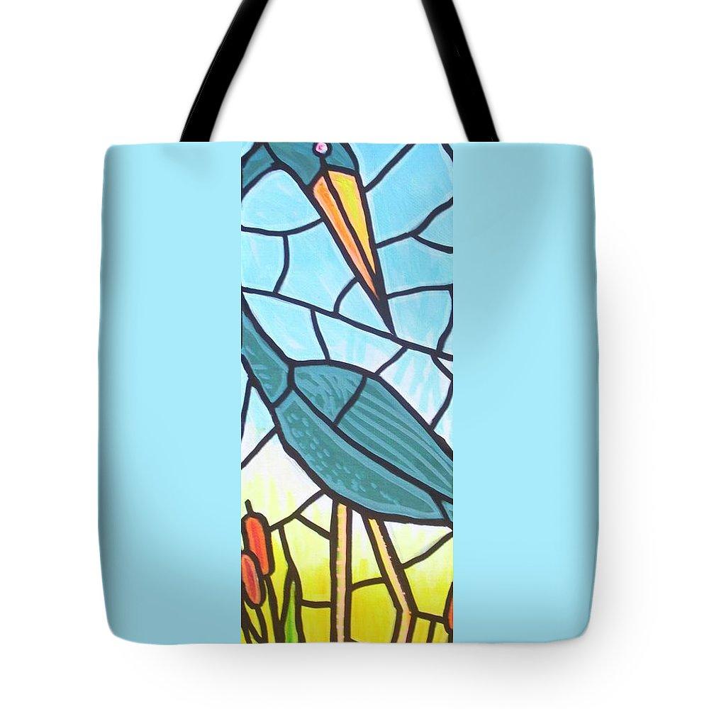 Heron Tote Bag featuring the painting Blue Heron by Jim Harris