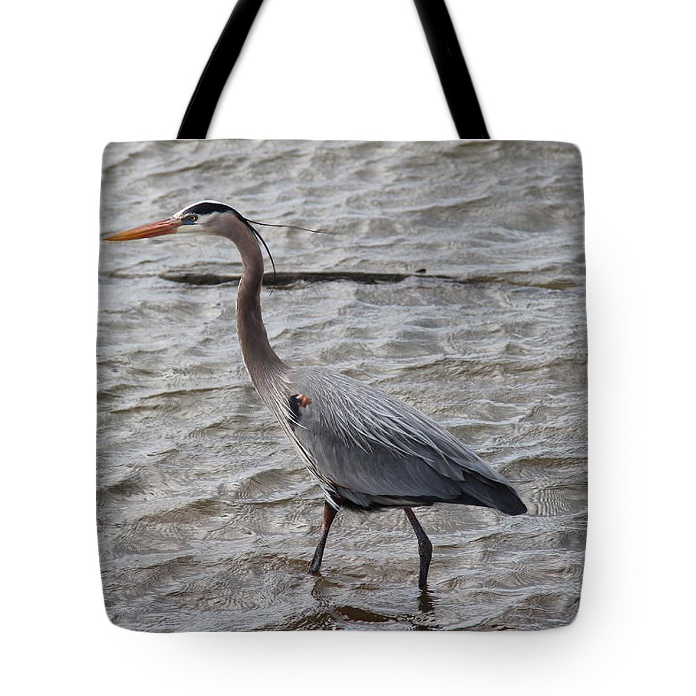 Blue Heron On The Lake Tote Bag featuring the photograph Blue Heron On The Lake by Robert Smith