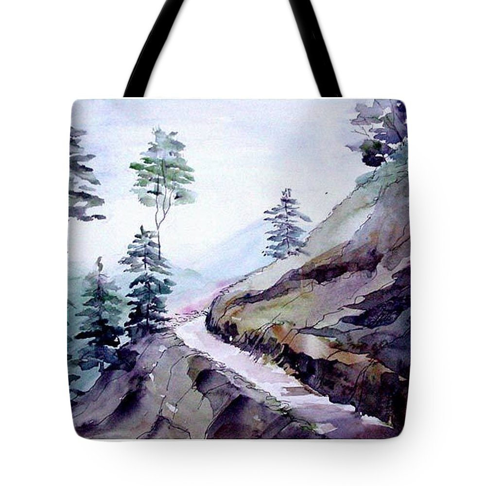 Landscape Tote Bag featuring the painting Blue Hills by Anil Nene