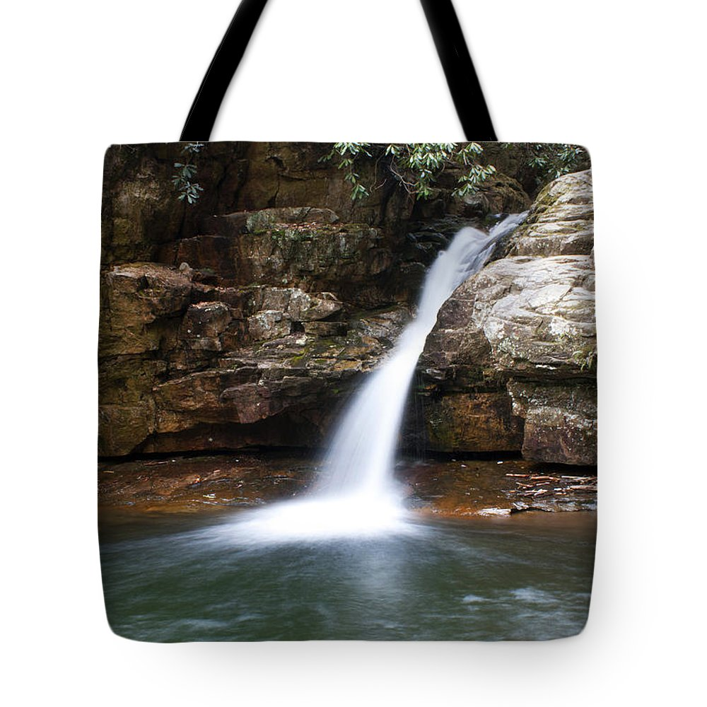 Waterfall Tote Bag featuring the photograph Blue Hole In Spring #1 by Jeff Severson