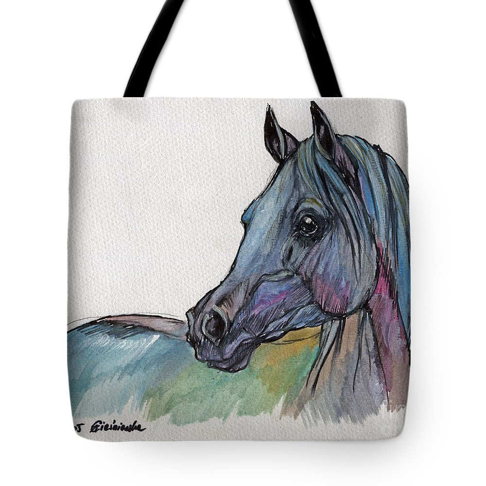 Tote Bag featuring the painting Blue Horse by Angel Ciesniarska