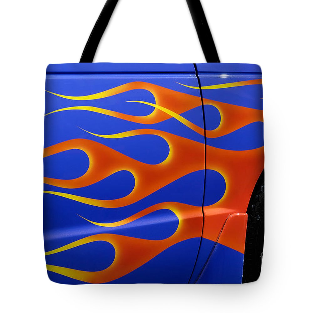 Hot Rod Tote Bag featuring the photograph Blue Hot Rod Closeup by Oleksiy Maksymenko