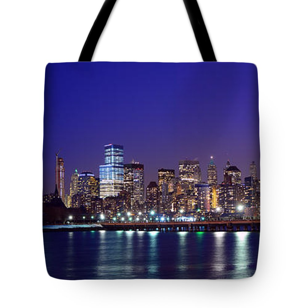 Blue Hour Panorama World Trade Center Tote Bag featuring the photograph Blue Hour Panorama New York World Trade Center With Freedom Tower From Liberty State Park by Raymond Salani III