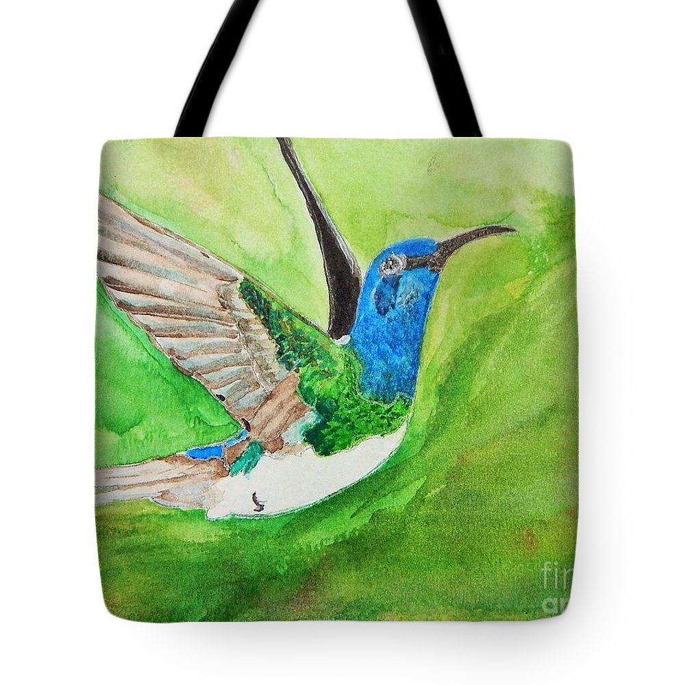 Humming Bird Tote Bag featuring the painting Blue Humming Bird by Barbara King