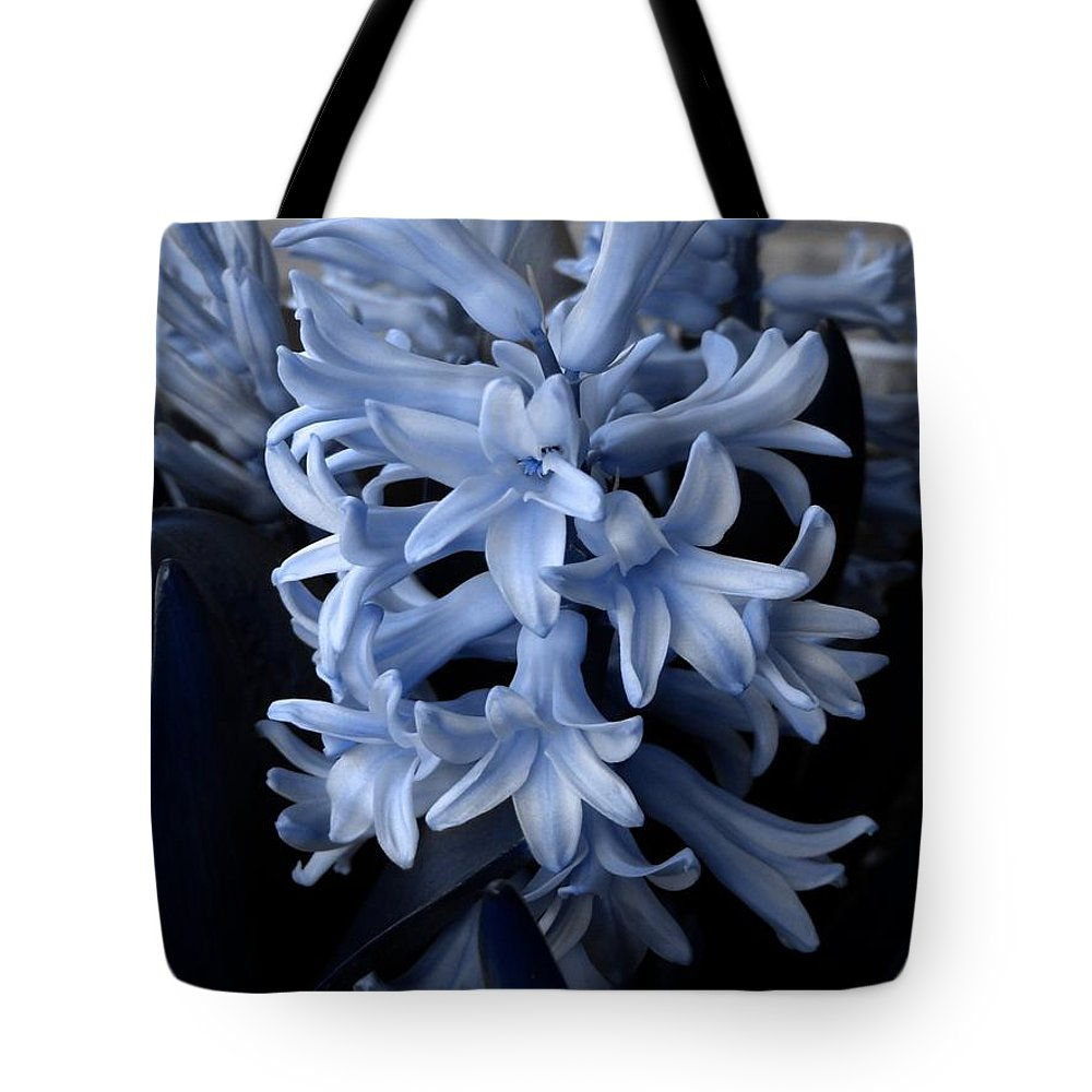Blue Tote Bag featuring the photograph Blue Hyacinth by Shelley Jones