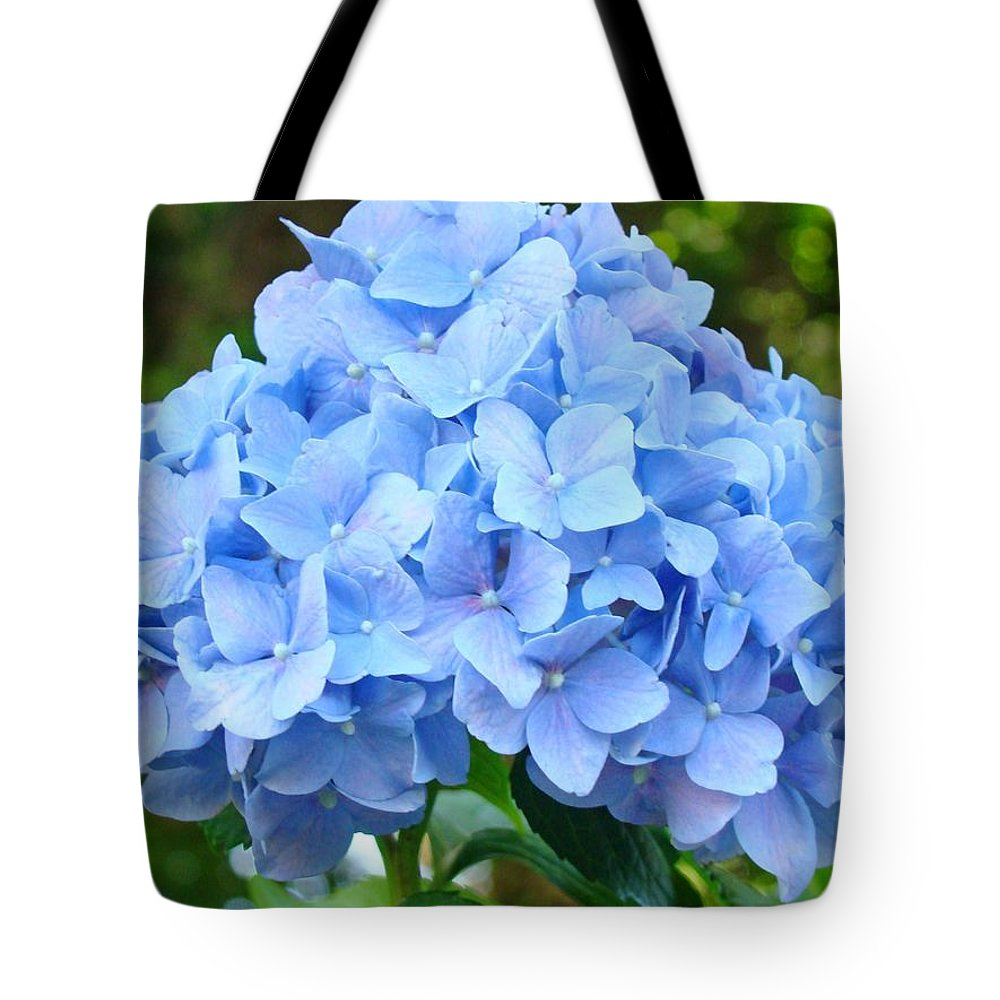 Blue Tote Bag featuring the photograph Blue Hydrangea Floral Art Print Hydrangeas Flowers Baslee Troutman by Baslee Troutman