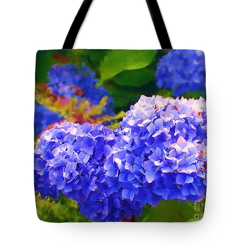 Blue Hydrangea Tote Bag featuring the painting Blue Hydrangea by Methune Hively