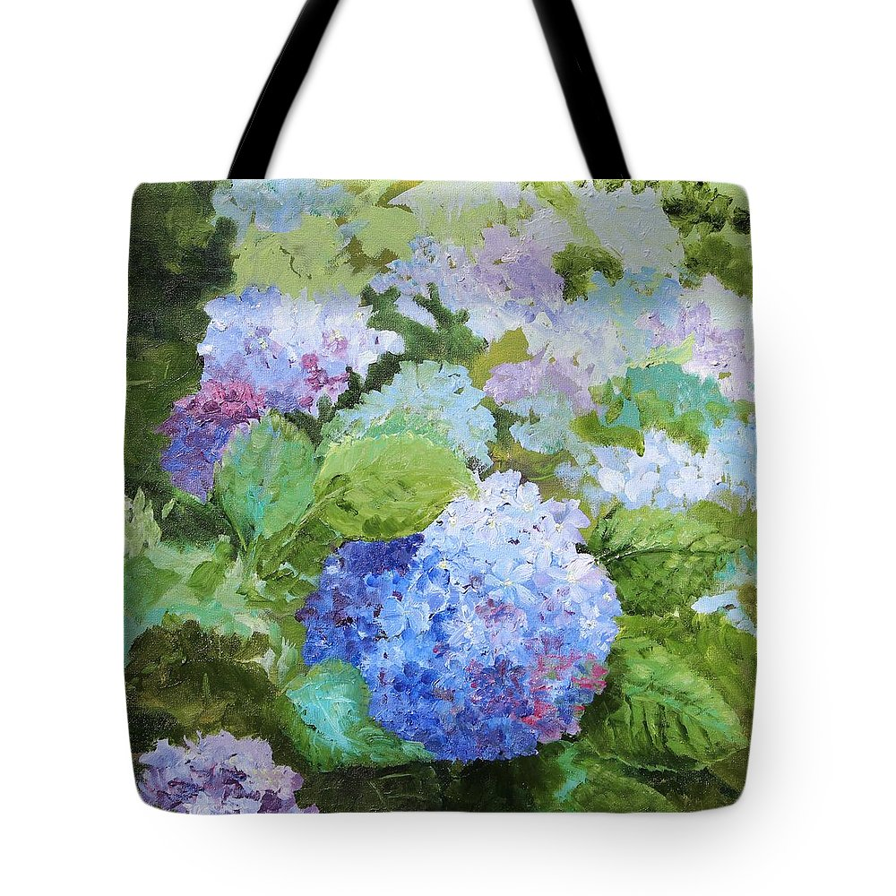 Oil Painting Hydrangeas Flowers Floral Garden Tote Bag featuring the painting Blue Hydrangeas by Christina Maassen