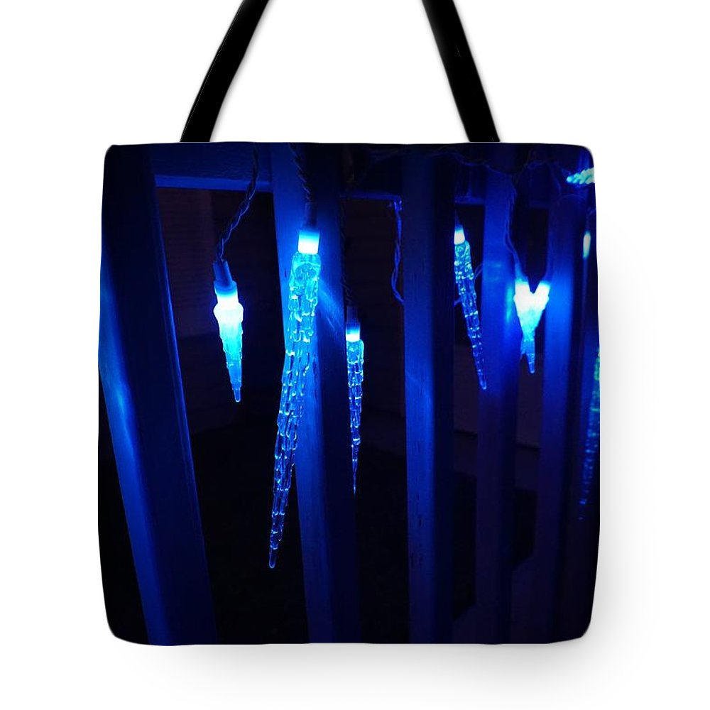 Blue Tote Bag featuring the photograph Blue Icicles by Susan Brown