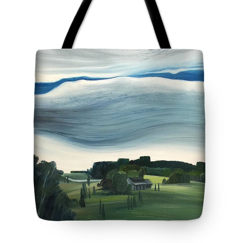 Landscape Tote Bag featuring the painting Blue In The Sky by Olivia Ouyang