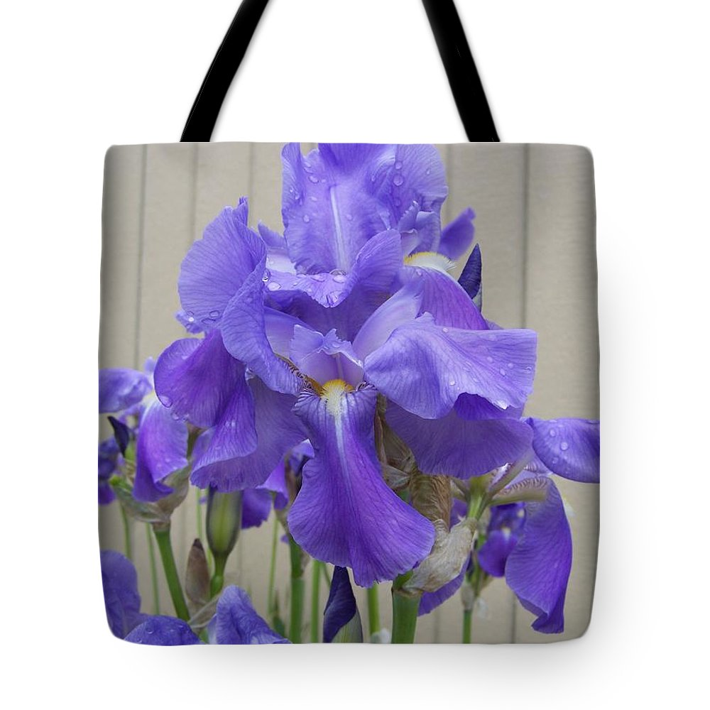 Flowers Tote Bag featuring the photograph Blue Iris by Laurie Kidd