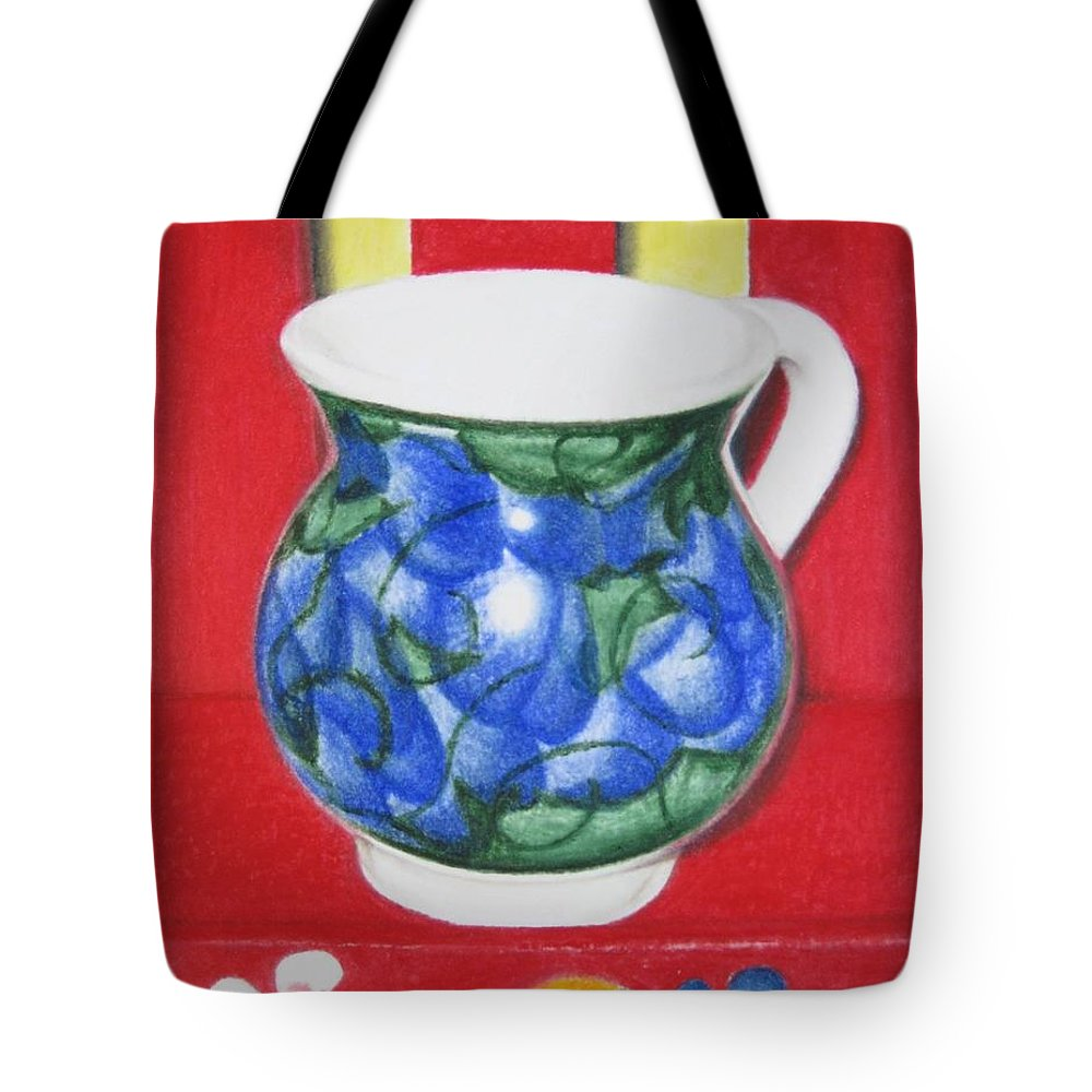 Blue Jarrito Tote Bag featuring the painting Blue Jarrito by Lynet McDonald