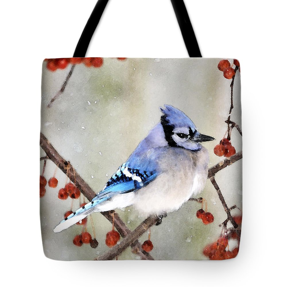 Blue Jay Photographs Tote Bag featuring the photograph Blue Jay In Snowfall 3 by Betty LaRue