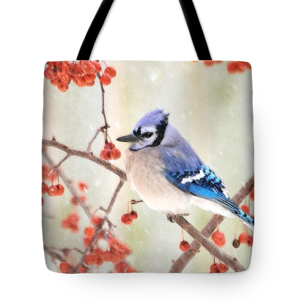 Blue Jay Photographs Tote Bag featuring the photograph Blue Jay In Snowfall by Betty LaRue