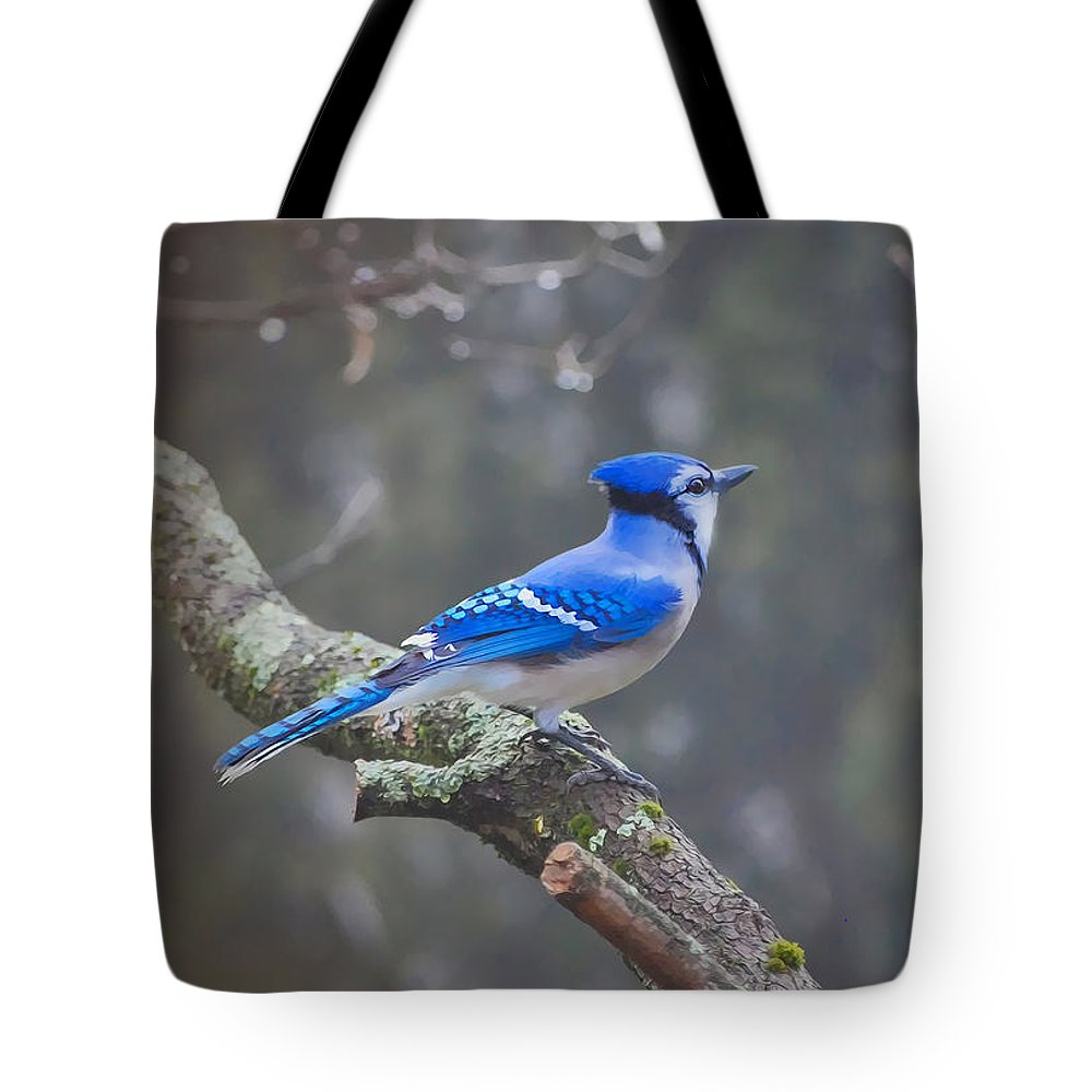 Blue Jay Tote Bag featuring the digital art Blue Jay Song by Anita Hubbard