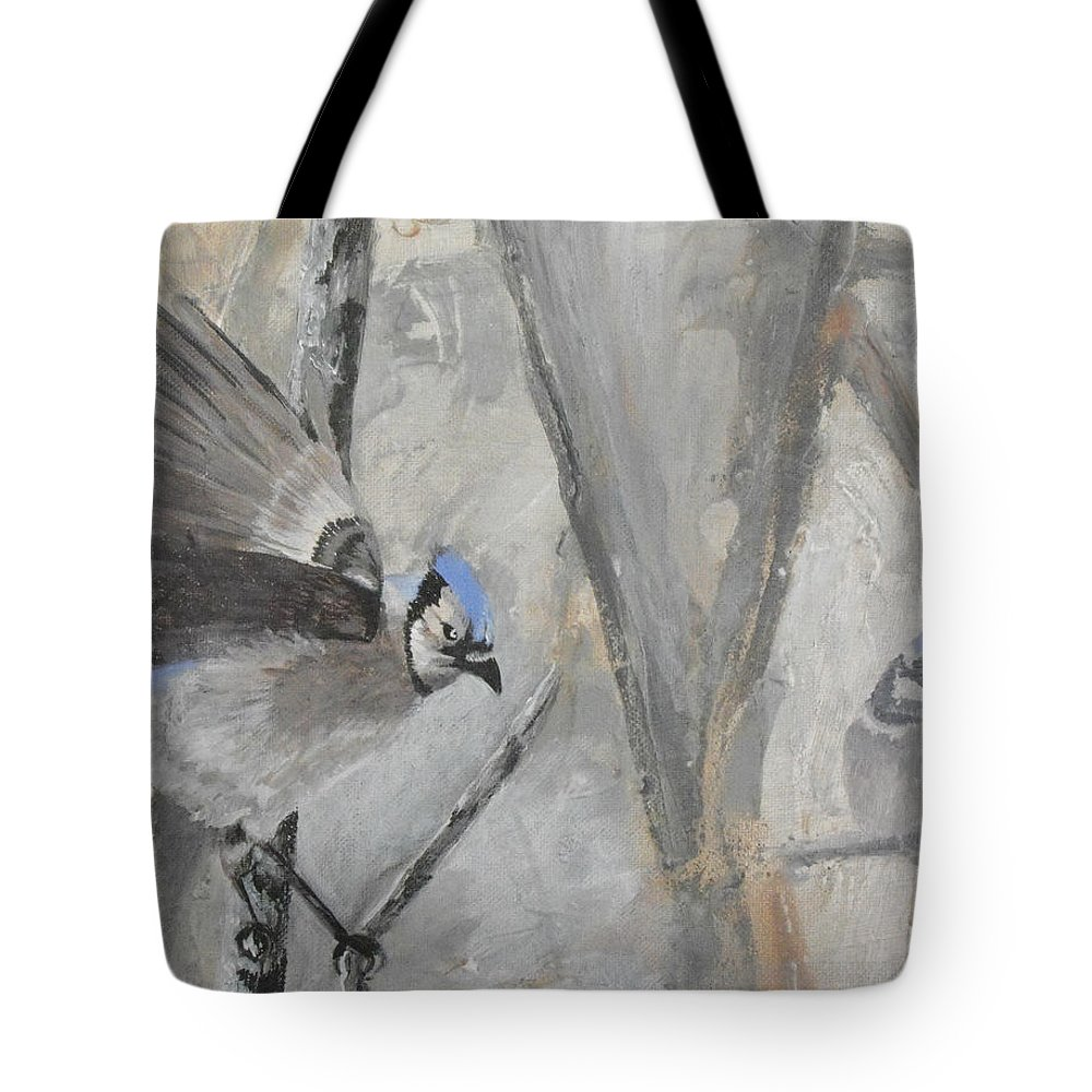 Blue Tote Bag featuring the painting Blue Jays by Susan Bruner