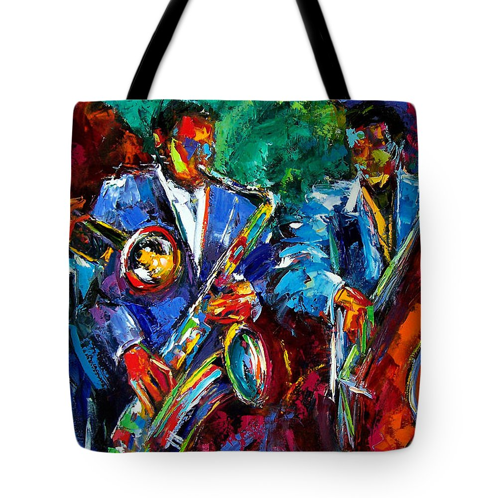 Jazz Art Tote Bag featuring the painting Blue Jazz by Debra Hurd