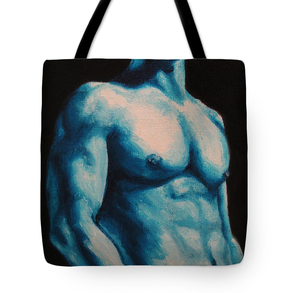 Nude Tote Bag featuring the painting Blue by Jindra Noewi