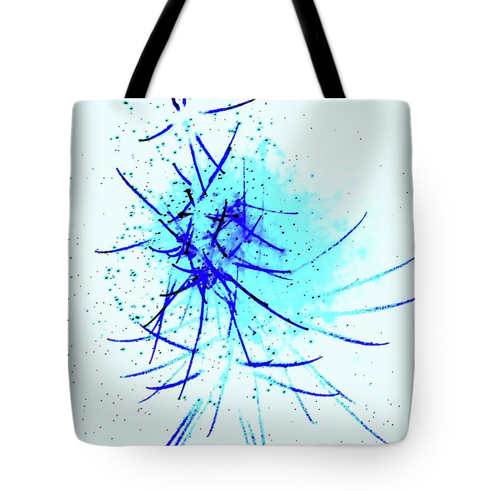 Blue Tote Bag featuring the digital art Blue Kiss by Ronald Irwin