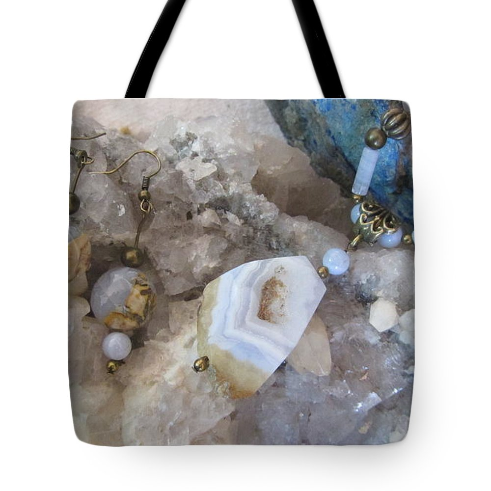 Blue Lace Agate Tote Bag featuring the mixed media Blue Lace Agate S18 by Barbara Prestridge