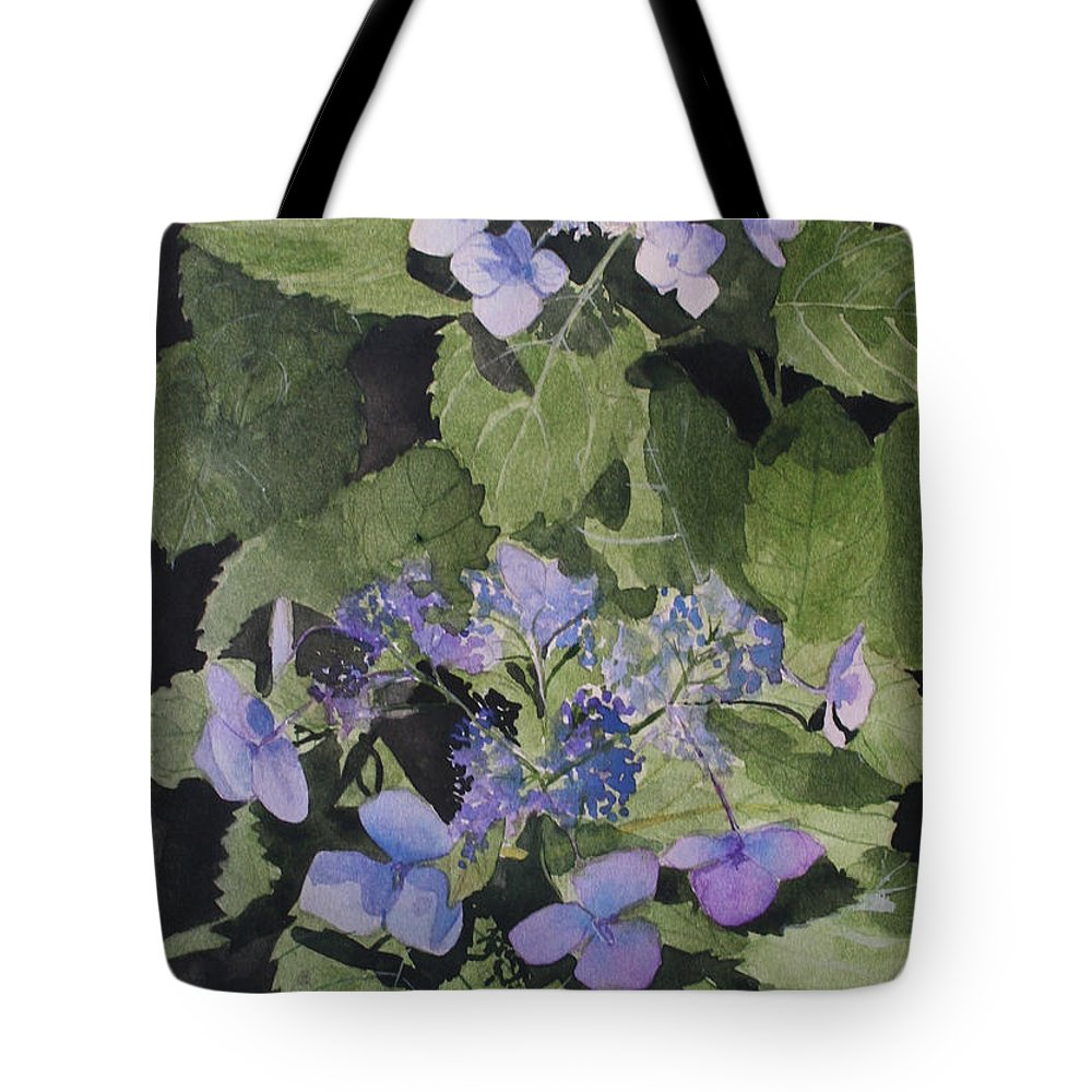 Flowers Tote Bag featuring the painting Blue Lace by Jean Blackmer