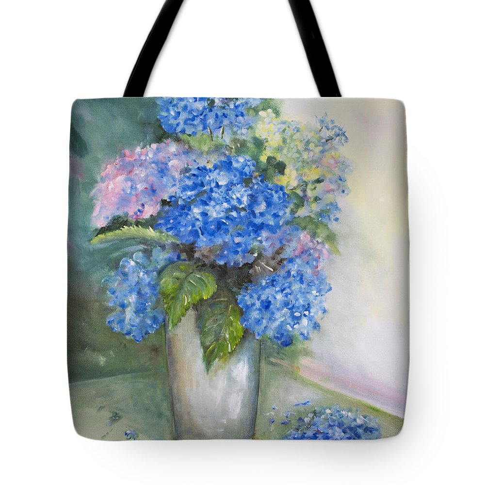 Flowers Tote Bag featuring the painting Blue Ladies by Carolyn Bell