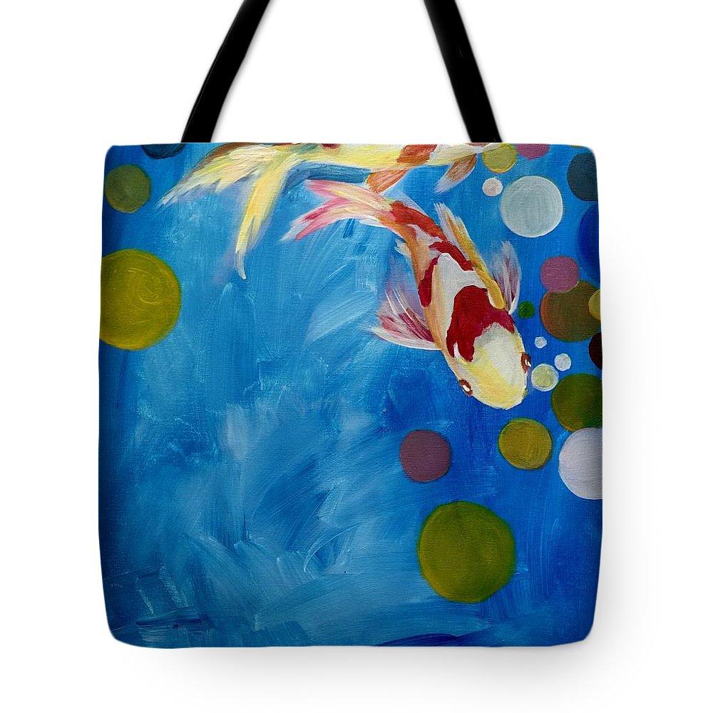 Koi Tote Bag featuring the painting Blue Lagoon by Jun Jamosmos