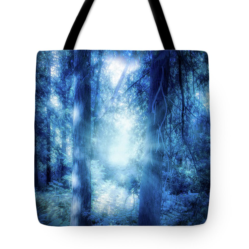 Seattle Tote Bag featuring the photograph Blue Lights by Andrew Zuber