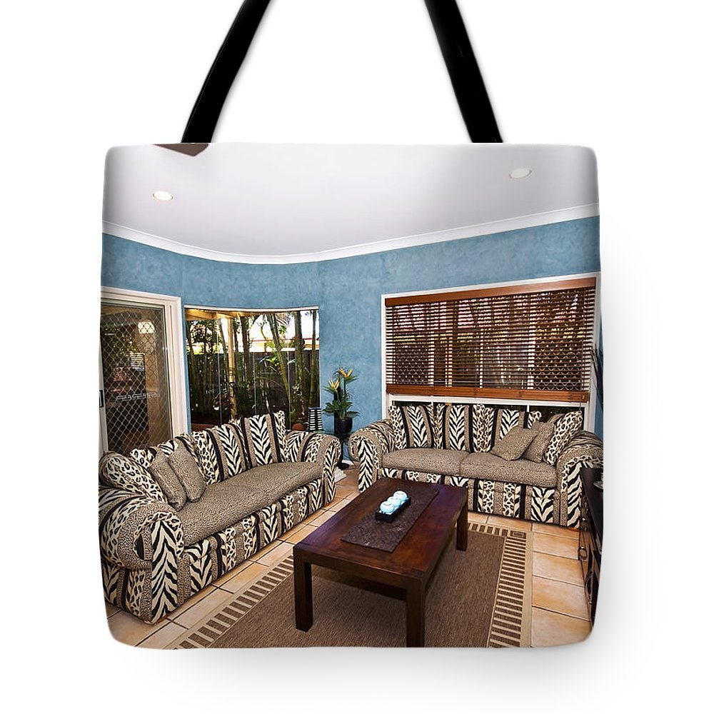 Living Tote Bag featuring the photograph Blue Living Room by Darren Burton