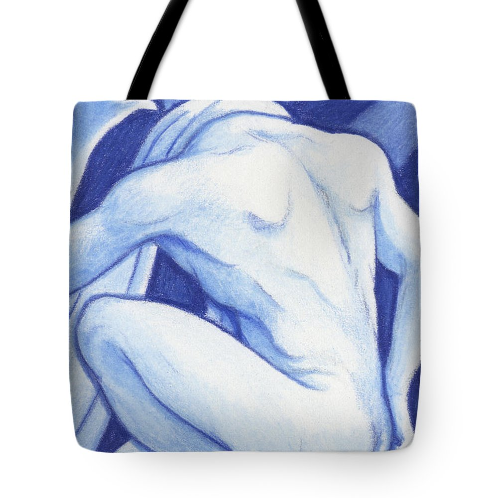 Atc Tote Bag featuring the drawing Blue Man Study by Amy S Turner