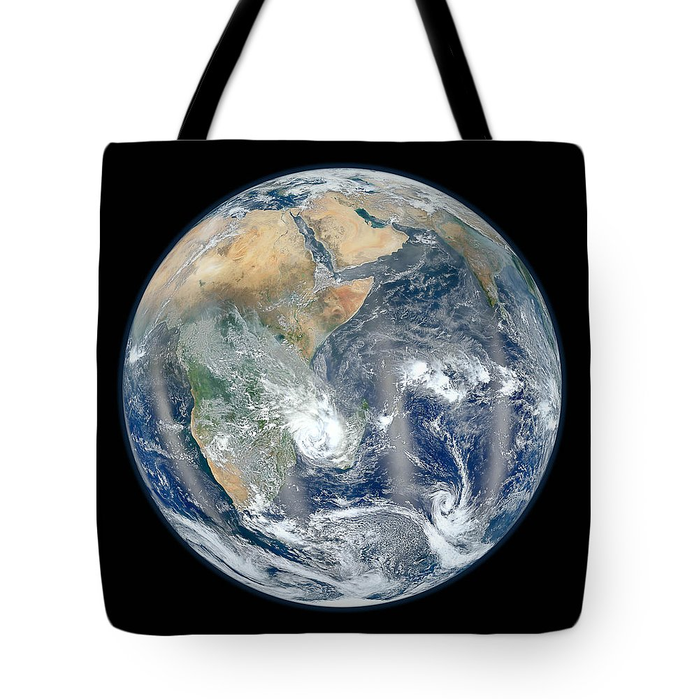Earth Tote Bag featuring the photograph Blue Marble 2012 - Eastern Hemisphere Of Earth by Nikki Marie Smith