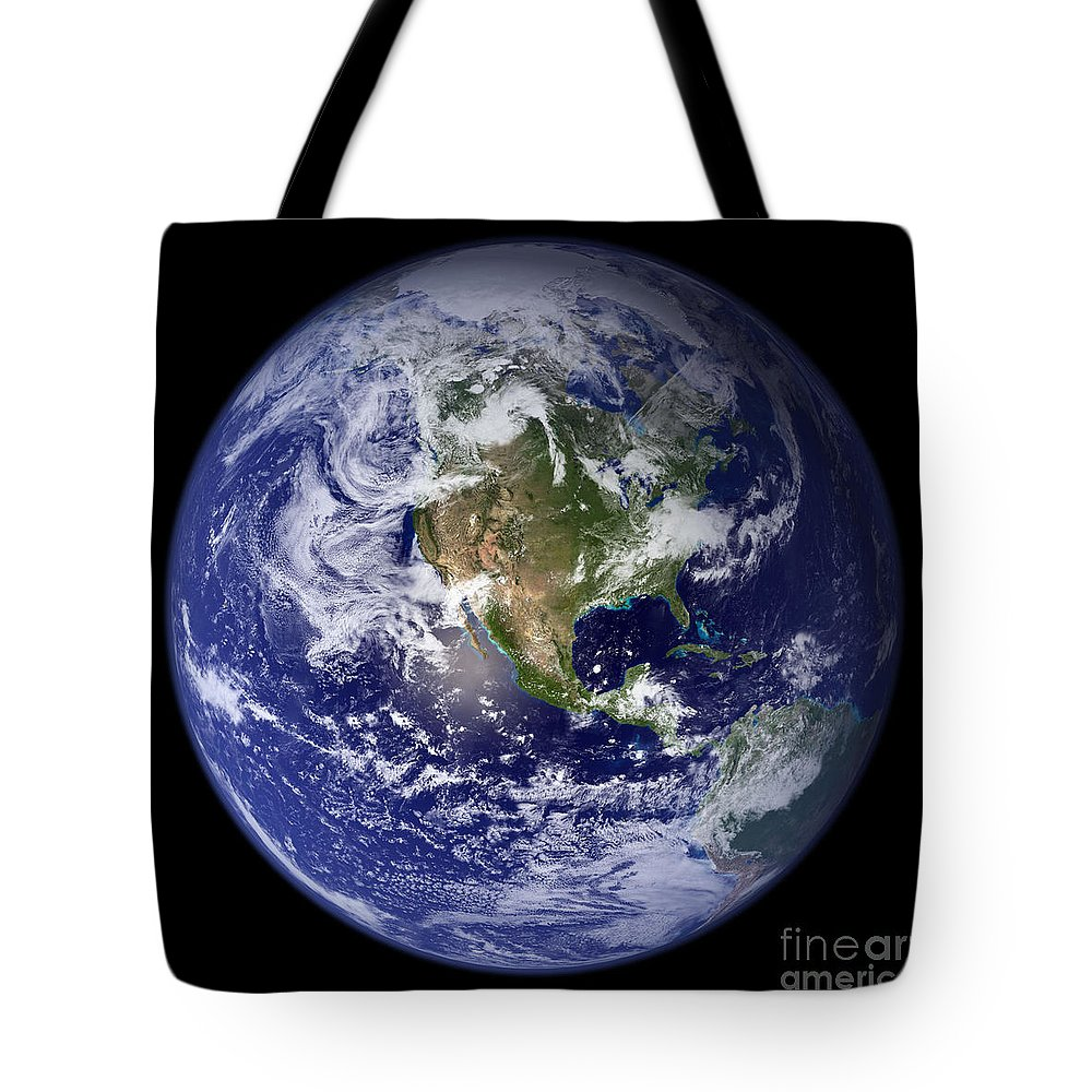 Earth Tote Bag featuring the photograph Blue Marble Earth, North America by Science Source