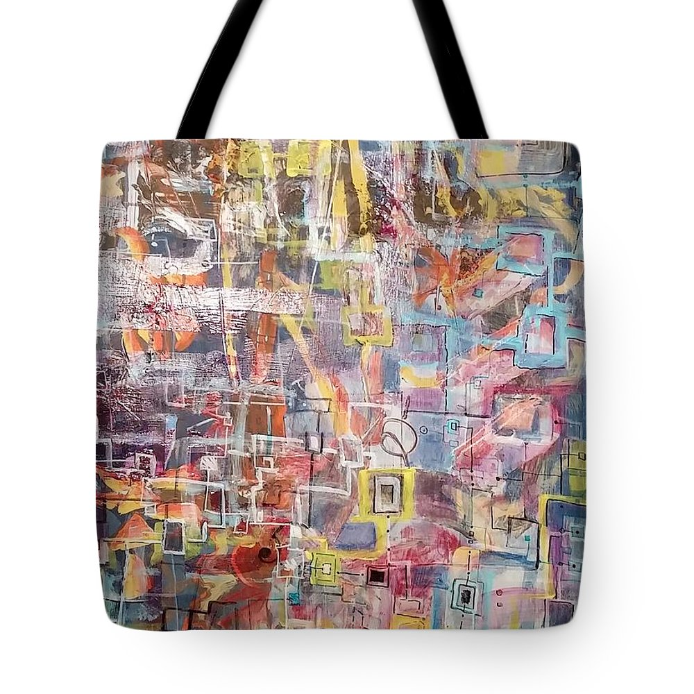 Abstract Tote Bag featuring the drawing Blue by Martha Wherry