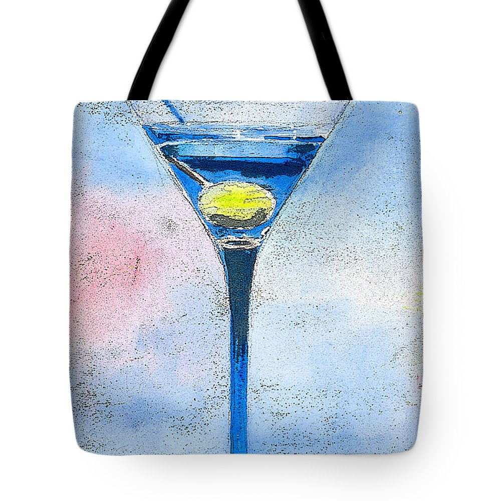 Martini Tote Bag featuring the painting Blue Martini by Arline Wagner