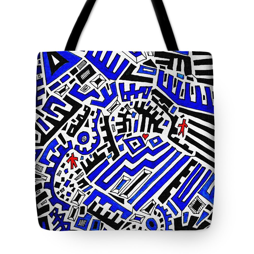 Doodle Tote Bag featuring the drawing Blue Maze by Sarah Loft