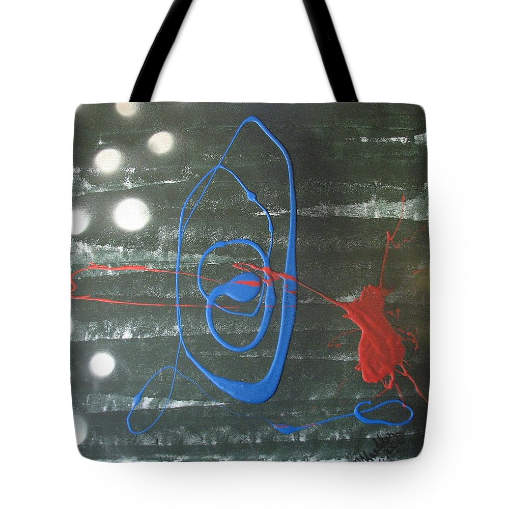 Abstrast Tote Bag featuring the painting Blue Meets Red by Joan Stratton