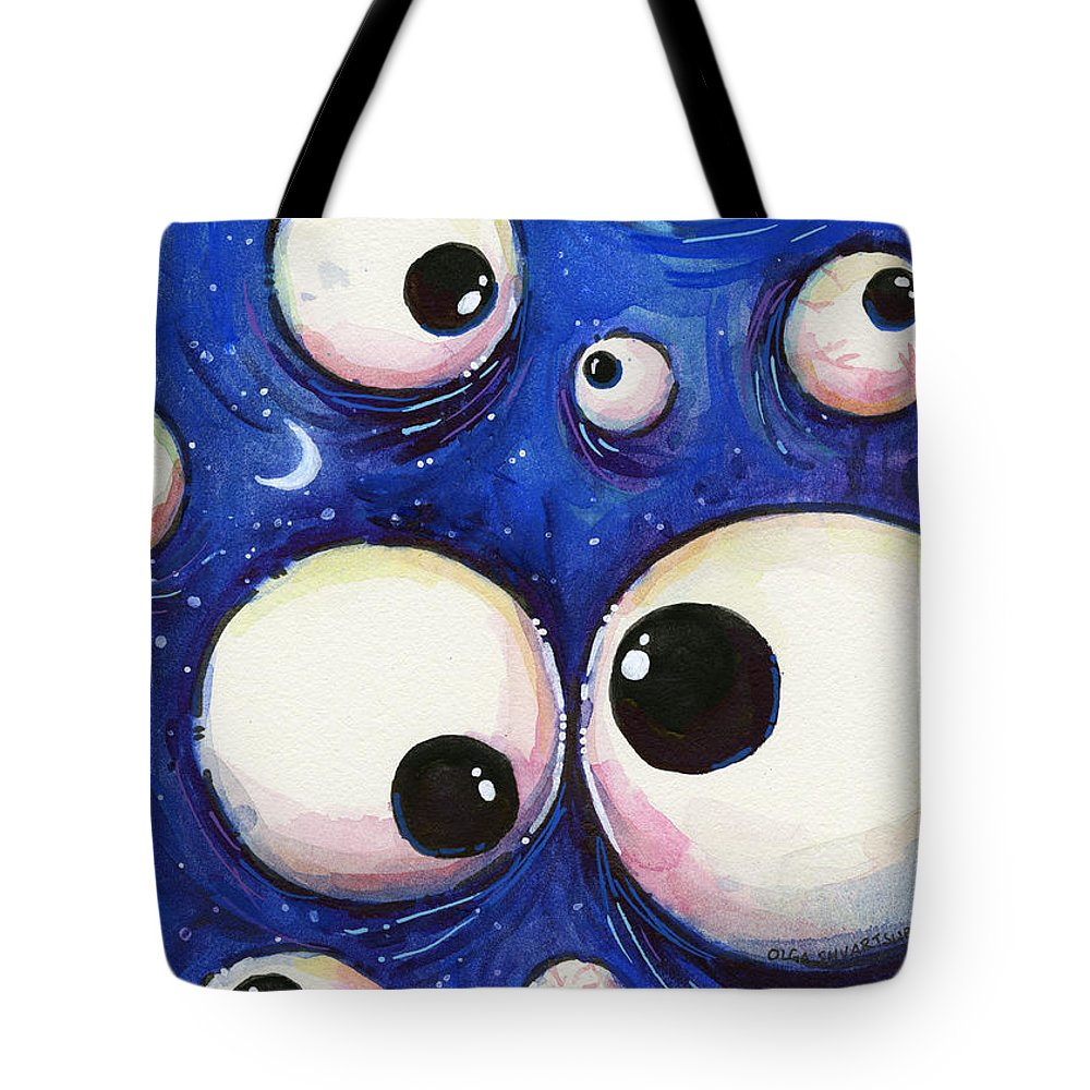 Eyes Tote Bag featuring the painting Blue Monster Eyes by Olga Shvartsur