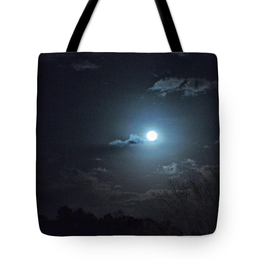 Landscape Tote Bag featuring the photograph Blue Moon by Christine DuMouchel
