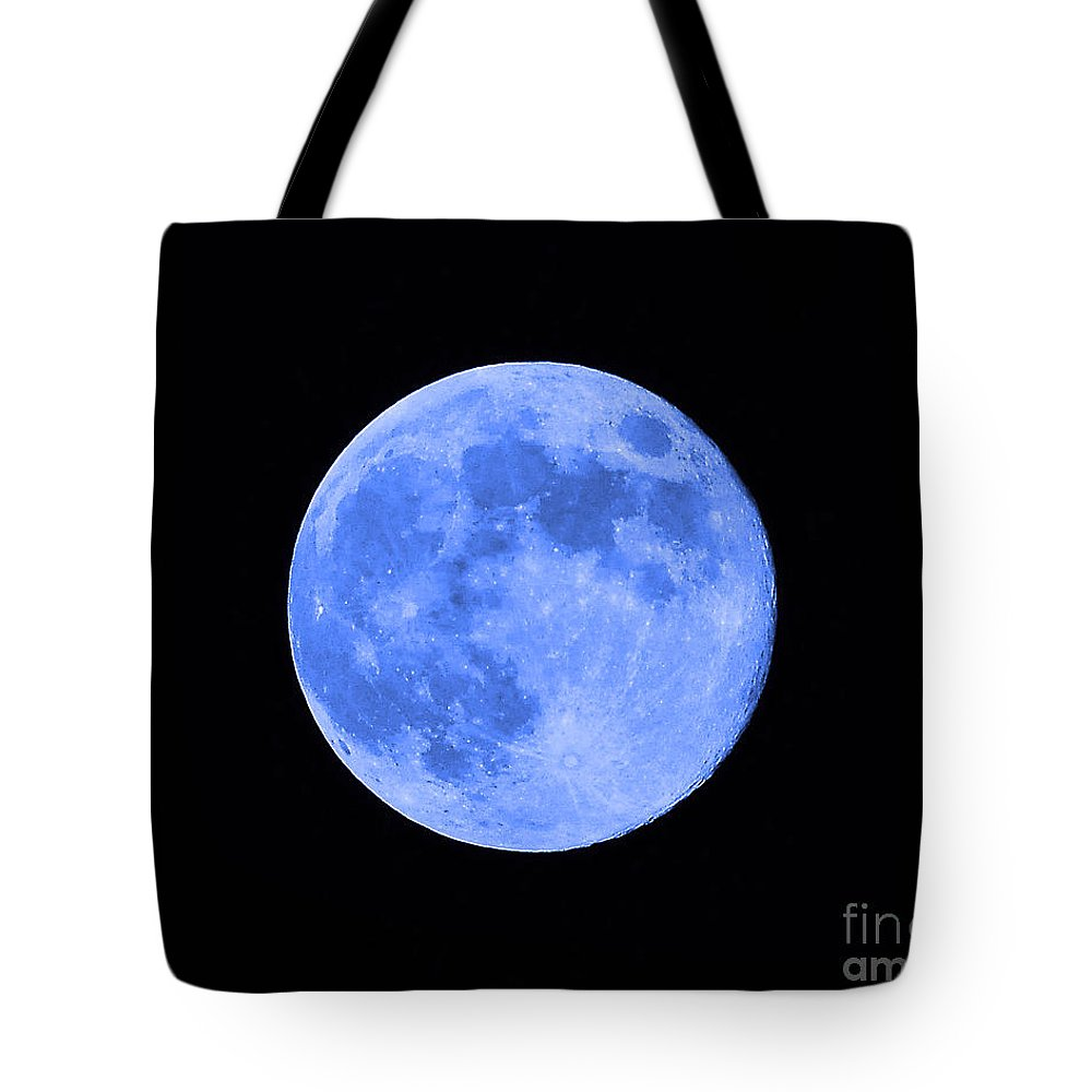 Moon Tote Bag featuring the photograph Blue Moon Close Up by Al Powell Photography USA