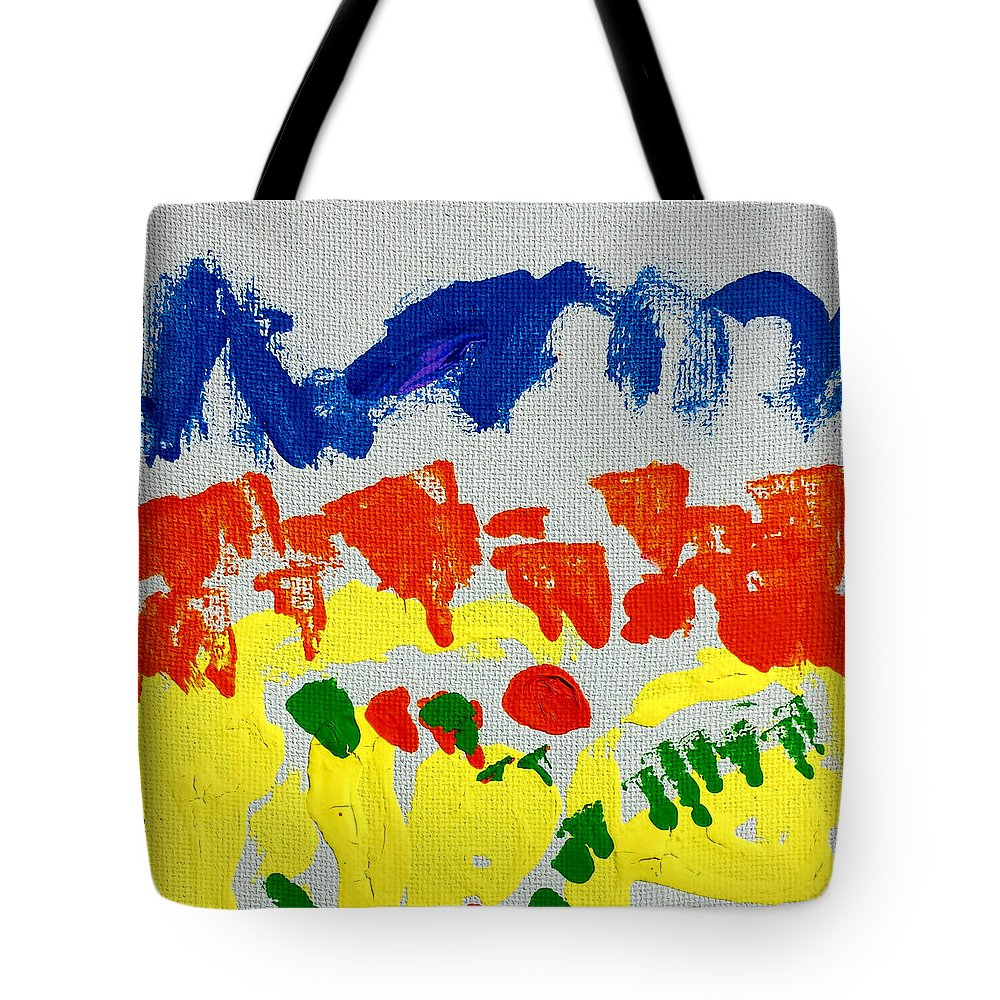 Colorful Painting Tote Bag featuring the painting Blue Mountains Even Lemons Limes Oranges And Strawberries by Rowan Lighthouse