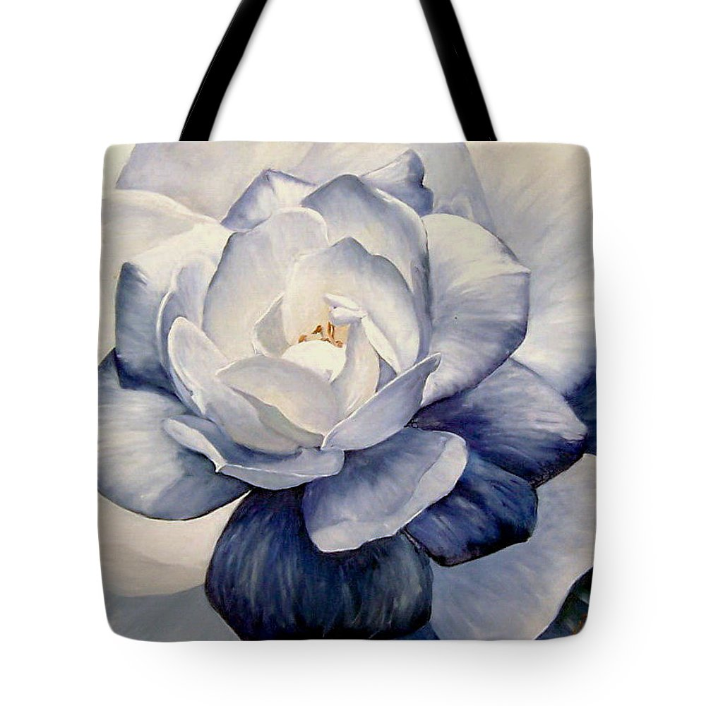 Flower Macro Nature Blue Gardenia Tote Bag featuring the painting Blue by Natalia Tejera