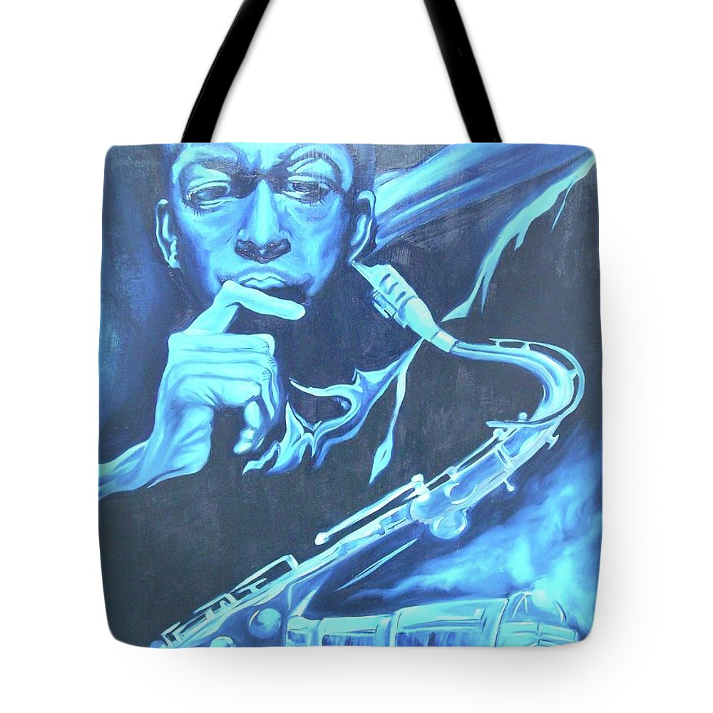 Jazz Tote Bag featuring the painting Blue Note by Hasaan Kirkland