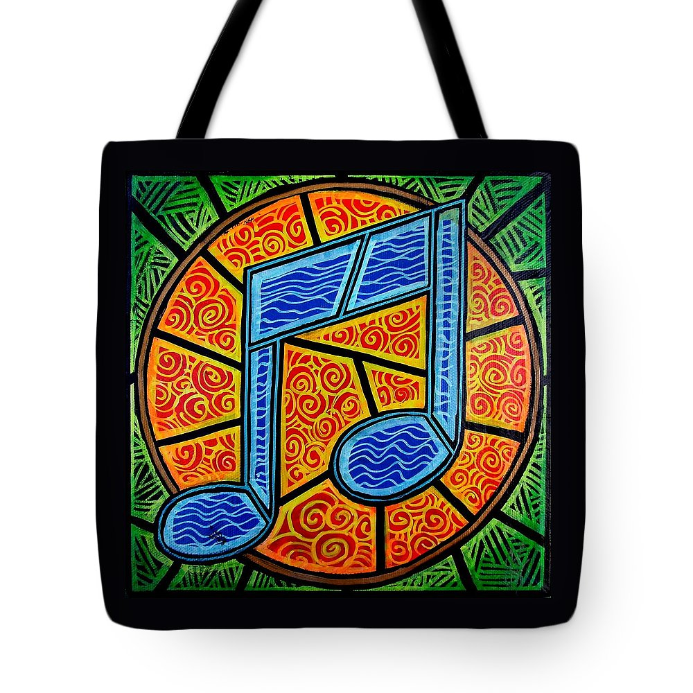 Music Tote Bag featuring the painting Blue Note On Red by Jim Harris