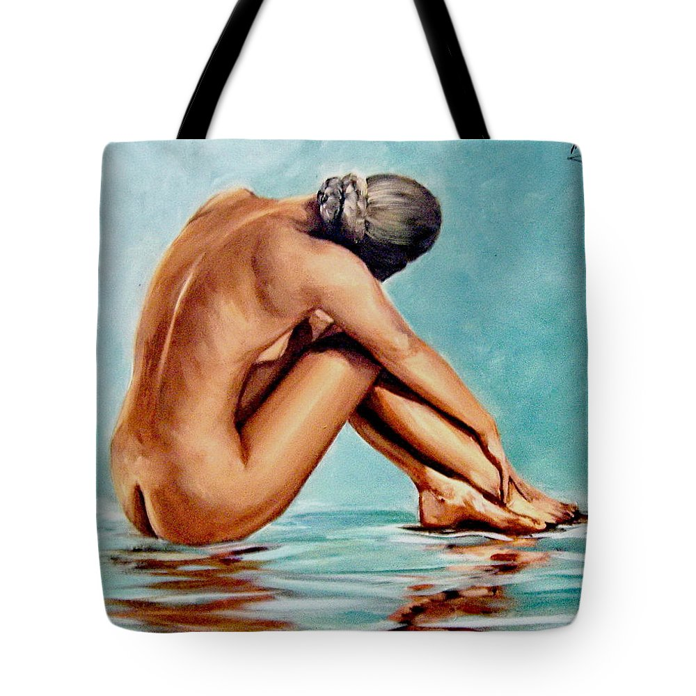 Nude Naked Woman Lady Reflection Back Portrait Girl Tote Bag featuring the painting Blue Nude by Natalia Tejera