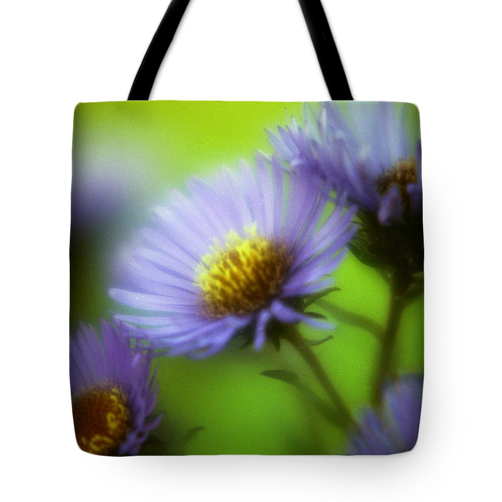 Flowers. Macrophotography Tote Bag featuring the photograph Blue On Green by Lee Santa