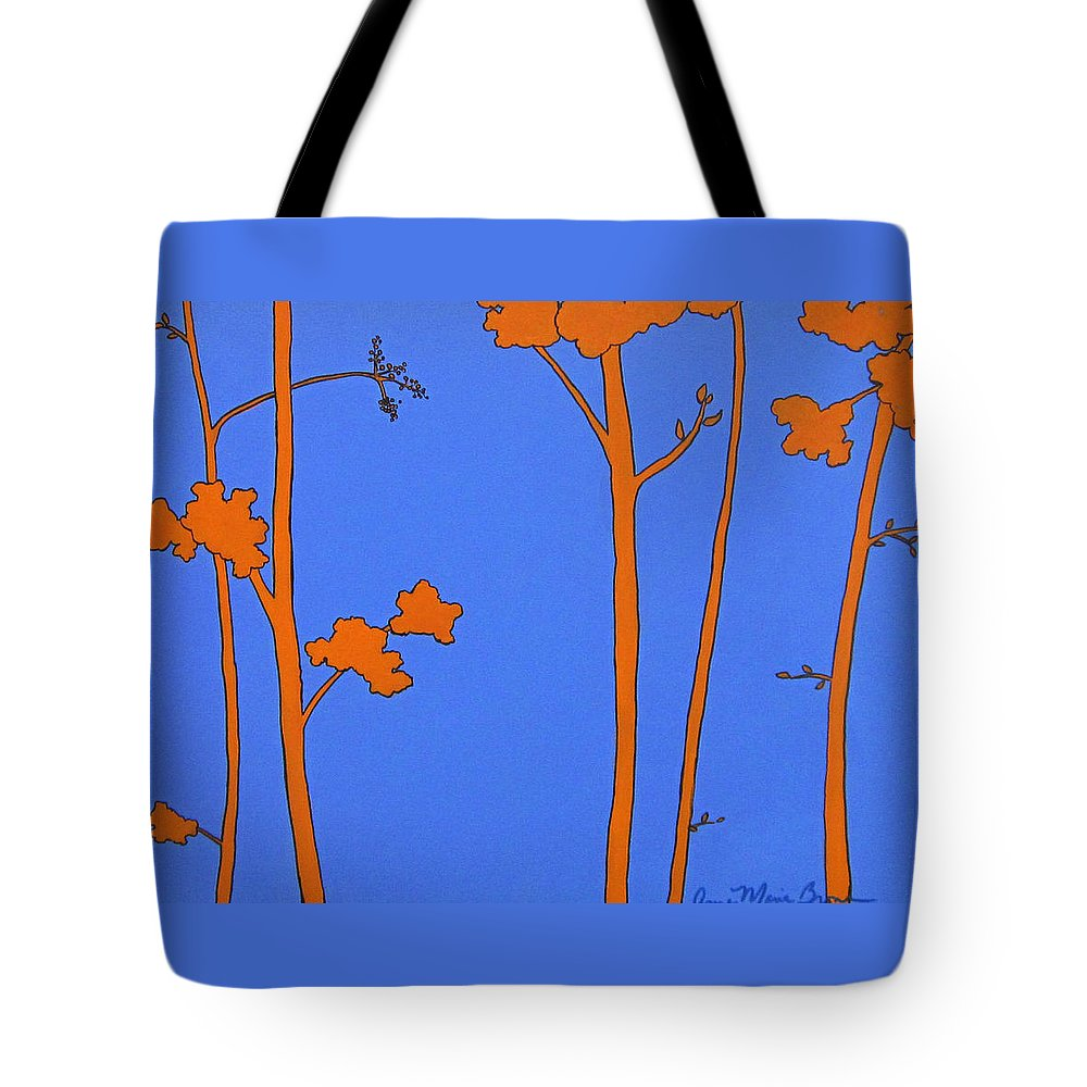 Blue Tote Bag featuring the painting Blue Orange Tree by Anne Marie Brown