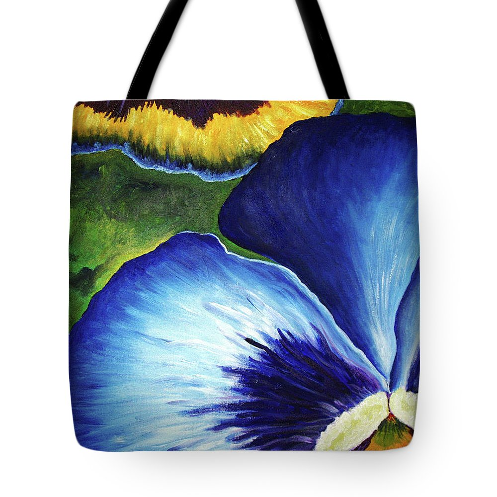 Pansy Tote Bag featuring the painting Blue Pansies by Nancy Mueller
