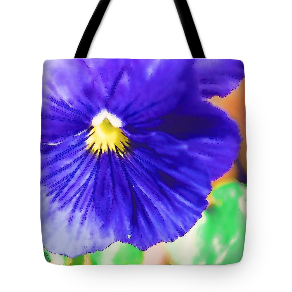 Blue Tote Bag featuring the photograph Blue Pansy by Donna Bentley
